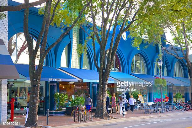 Blue shops and cafes in Coconut Grove, FL