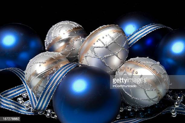 blue & silver holiday ornaments - royal blue stock pictures, royalty-free photos & images