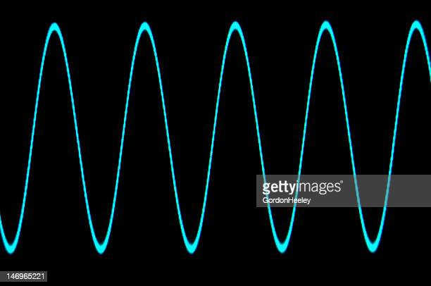 blue sine wave with no grid - oscilloscope stock pictures, royalty-free photos & images