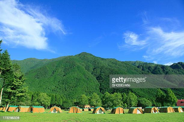 Blue sky and camping area