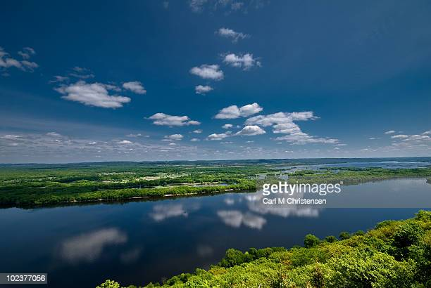 blue sky and cloud with reflections in river - mississippi river stock pictures, royalty-free photos & images