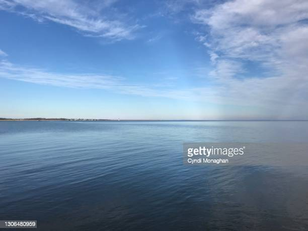 blue sky and clouds over the chesapeake bay, north point state park - maryland us state stock pictures, royalty-free photos & images