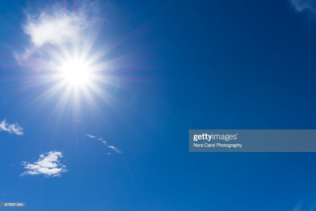Blue Sky and Clouds with Sunburst : Stock Photo