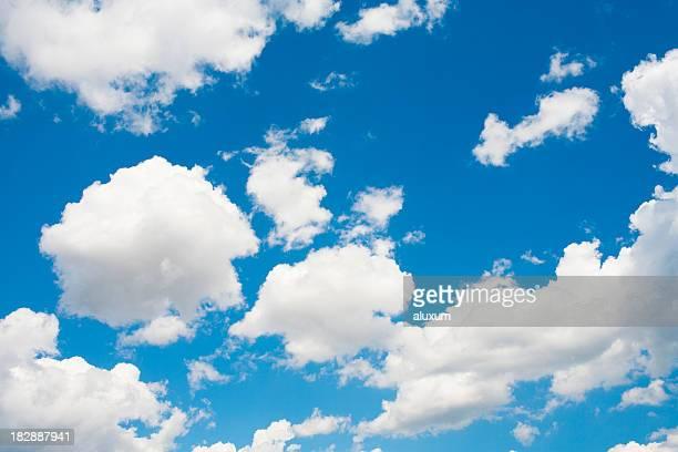 blue sky and cumulus clouds