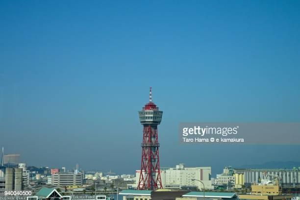 blue sky and hakata port tower in hakata-ku in fukuoka city in fukuoka prefecture in japan - fukuoka prefecture stock pictures, royalty-free photos & images