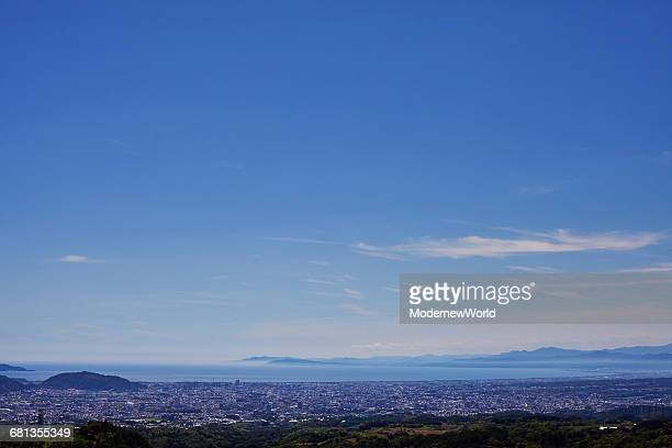 blue sky and the shizuaka city - mishima city stock photos and pictures