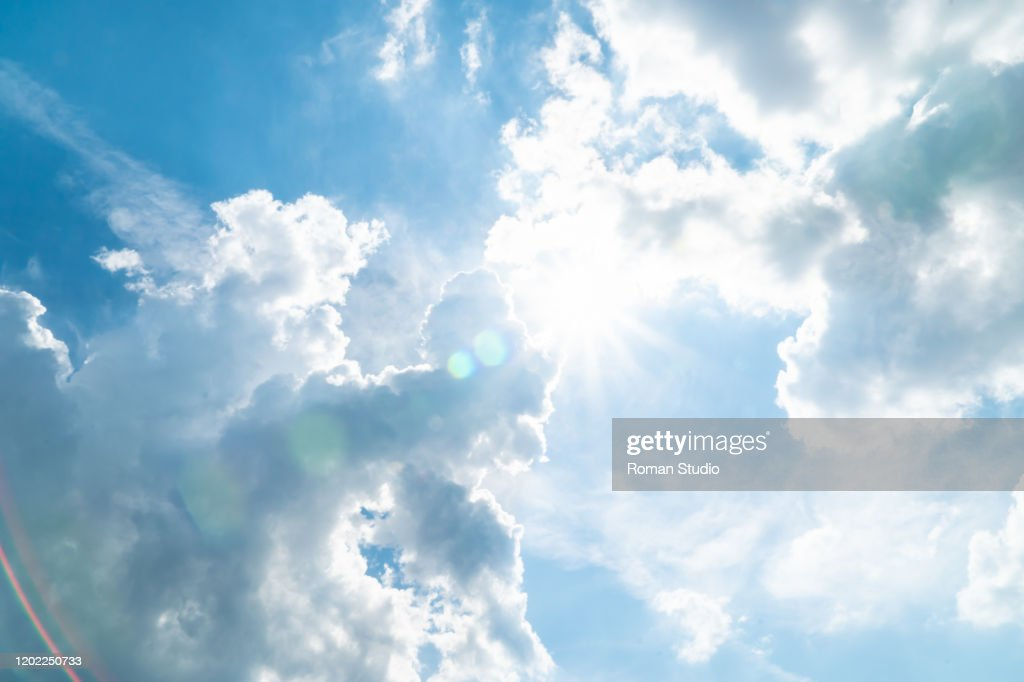Blue sky and white clouds background. Clouds in the blue sky : Stock-Foto