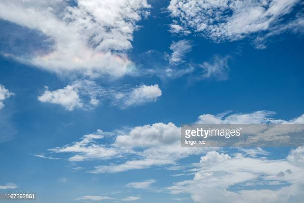 blue sky and white clouds in hangzhou, china before the typhoon - cloud sky stock pictures, royalty-free photos & images