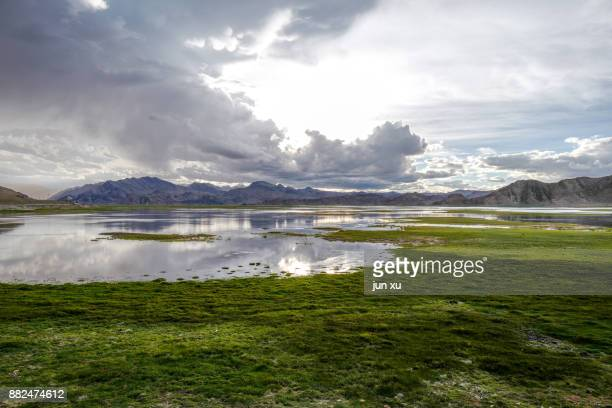 Blue sky and white clouds on ali highway in Tibet