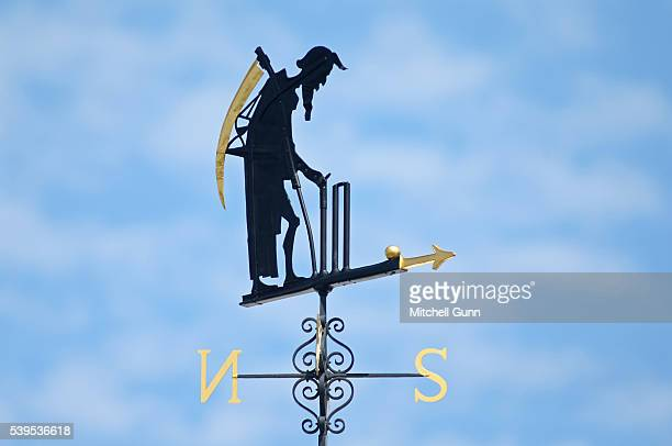 Blue sky behind the Lords weather vane old father time during day four of the 3rd Investec Test match between England and Sri Lanka at Lords Cricket...