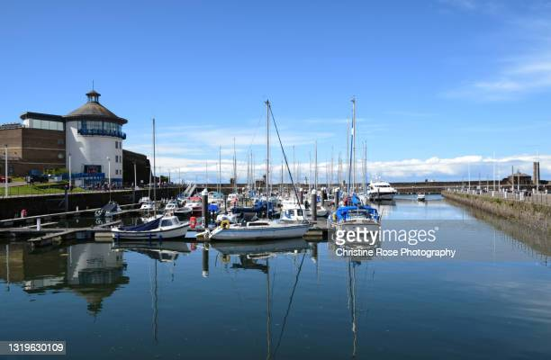 blue sky blue sea's and boats - harbour stock pictures, royalty-free photos & images