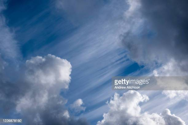 Blue sky filled with white clouds on 18th February 2019 in Trapp, Powys, Wales, United Kingdom.