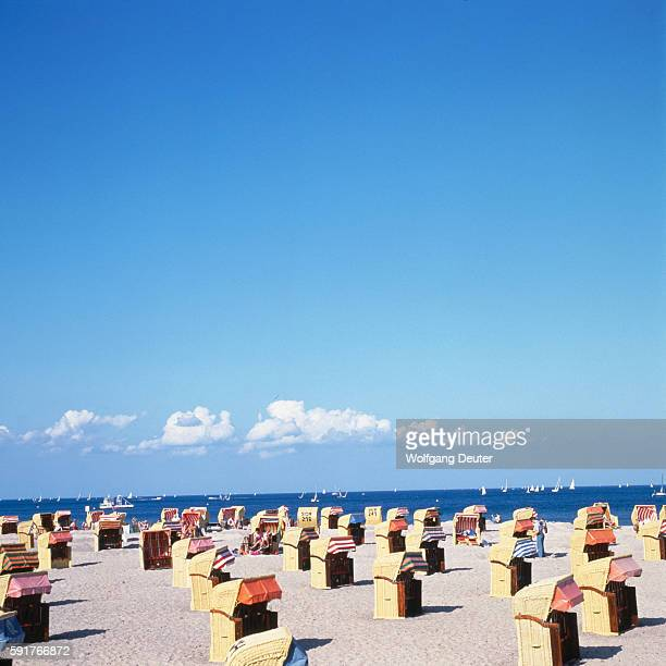 Blue Sky over Covered Chairs at the Beach