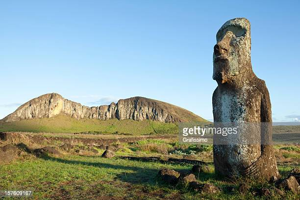 Blue sky over Moai at Rano Raraku Easter Island Chile