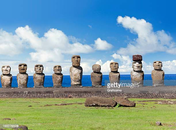 Blue sky over Moais at Ahu Tongariki Easter Island Chile