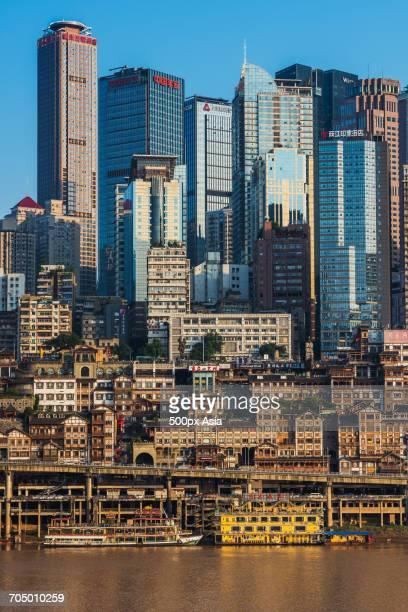 Blue sky over modern cityscape