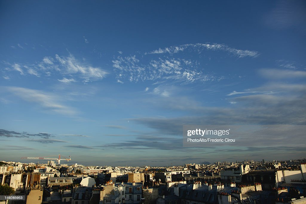 Blue sky over rooftops, Paris, France : Stock Photo