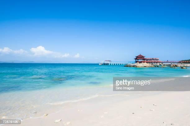 Blue sky over sea and beach, Sanya, Hainan, China