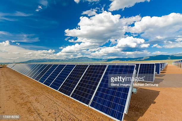 Blue sky over solar panels