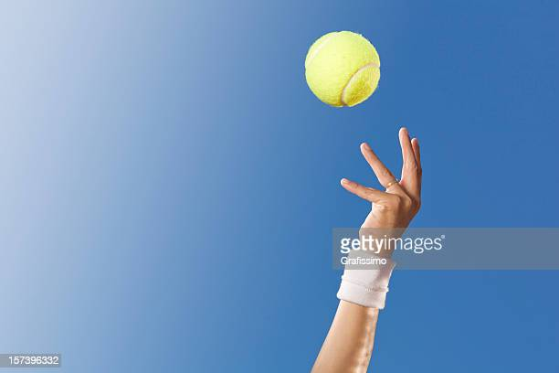 blue sky over tennis player - tennis ball stock pictures, royalty-free photos & images