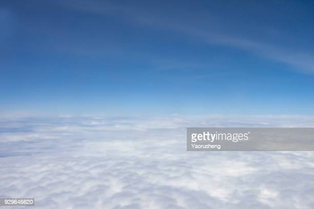 blue sky over the cloud,shoot from airplane - 天国 ストックフォトと画像