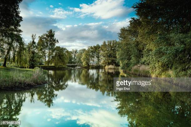blue sky reflecting in lake, bodensee, vorarlberg, austria - vorarlberg stock photos and pictures