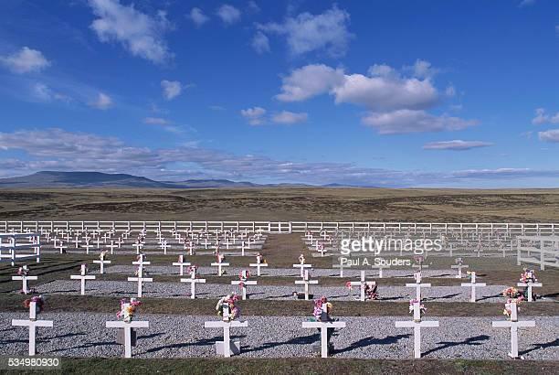 blue sky rising above graveyard - falklands war stock pictures, royalty-free photos & images