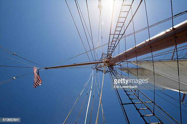 blue sky & ship's rigging - american flag ocean stock pictures, royalty-free photos & images