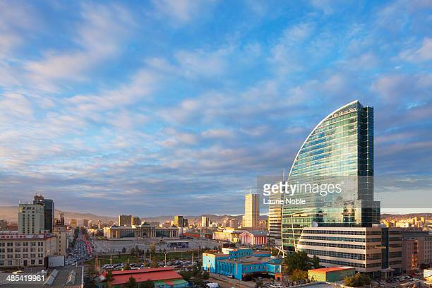 blue sky tower and ulaanbaatar at sunset, mongolia - hauptstadt stock-fotos und bilder