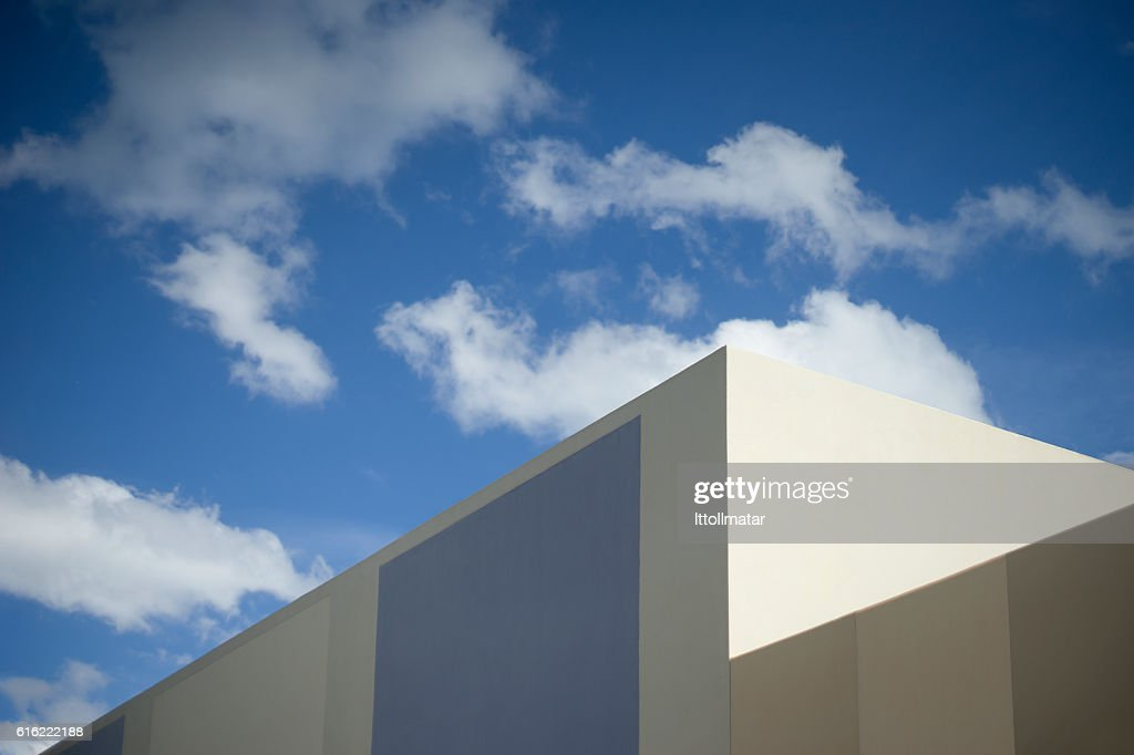 blue sky with a corner part of modern building : Stock Photo