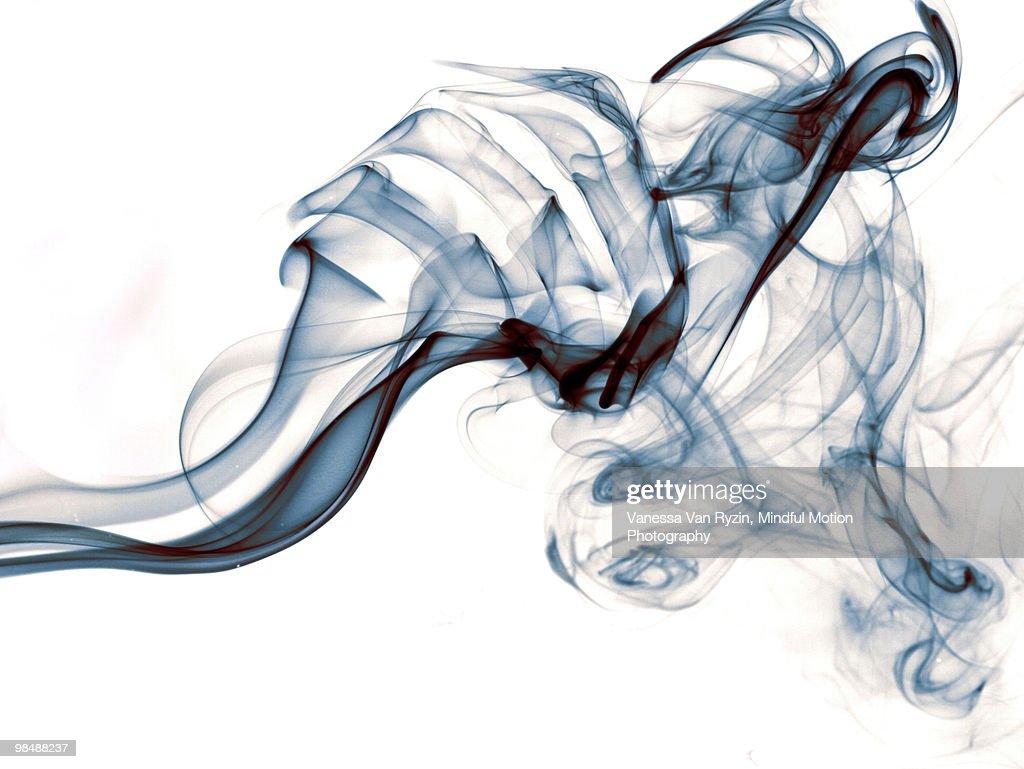 Blue Smoke on White : Stock Photo