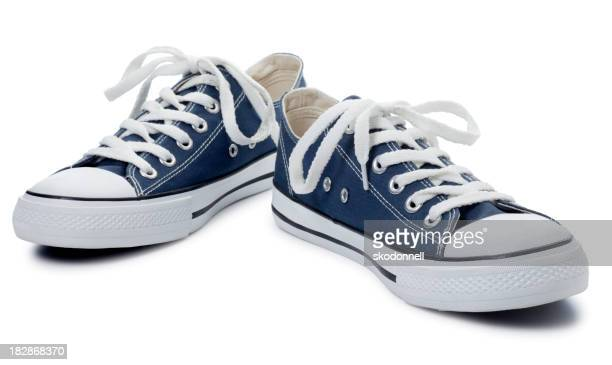 Blue Sneakers on a White Background