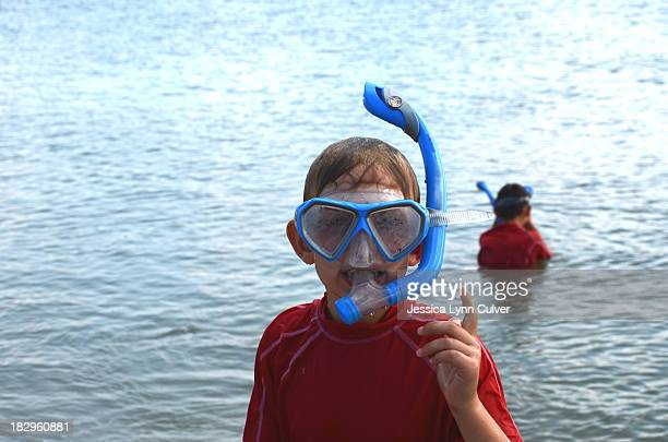 blue snorkel boy - lynn pleasant stock pictures, royalty-free photos & images