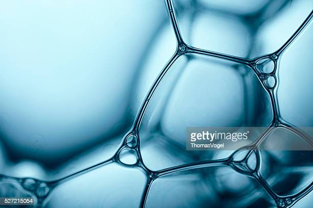 blue soap bubbles 5 - water abstract macro foam background - extreme close up stock pictures, royalty-free photos & images