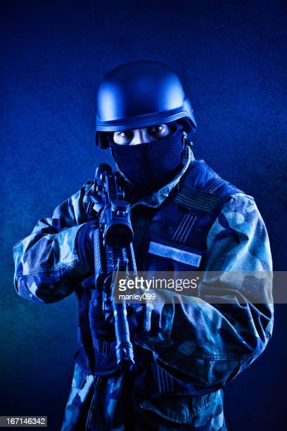 blue soldier with rifle