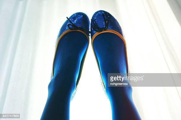 Blue Sparkle Flat Shoes