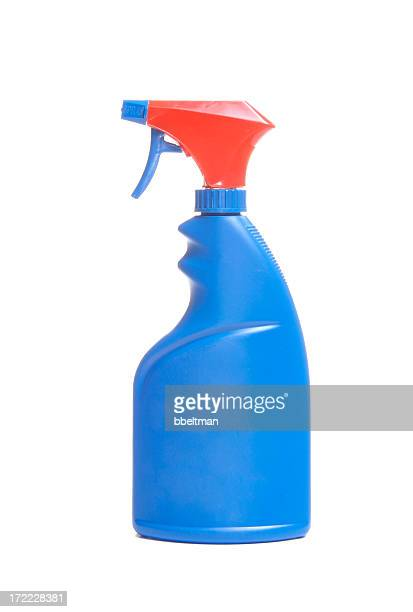 Blue spray bottle with red cap