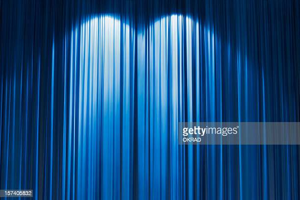 blue stage curtain wallpaper background. - stage curtain stock pictures, royalty-free photos & images