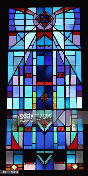 blue stained glass - stained glass stock photos and pictures