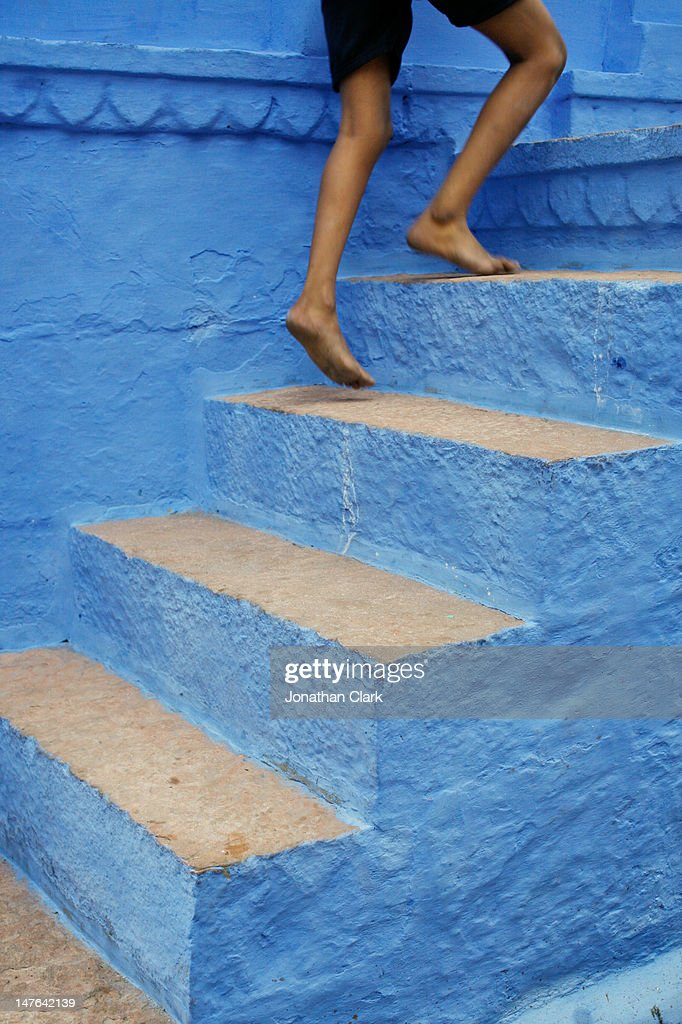 Blue stairs : Stock Photo