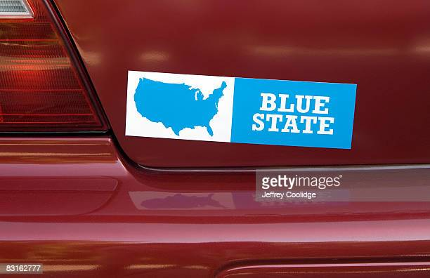 blue state bumpersticker on car - bumper sticker stock photos and pictures