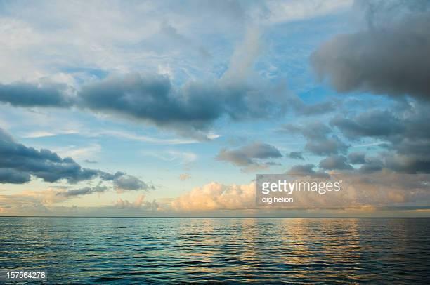 Blue Sunset over Caribbean sea