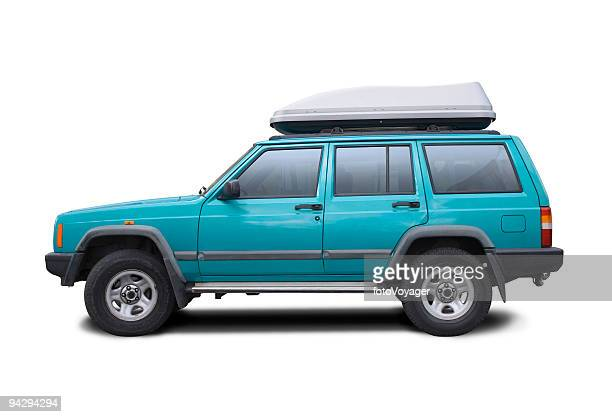 blue suv with clipping paths - van de zijkant stockfoto's en -beelden