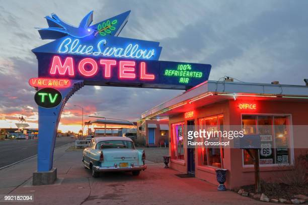 Blue Swallow Motel on Route 66 at sunset