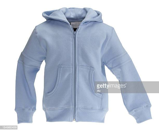 blue sweat-shirt on white background - hood clothing stock photos and pictures