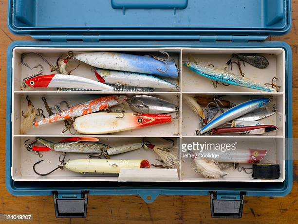 blue tackle box - fishing tackle stock pictures, royalty-free photos & images
