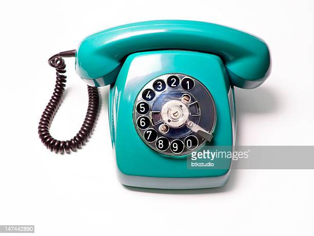 blue telephone, white background