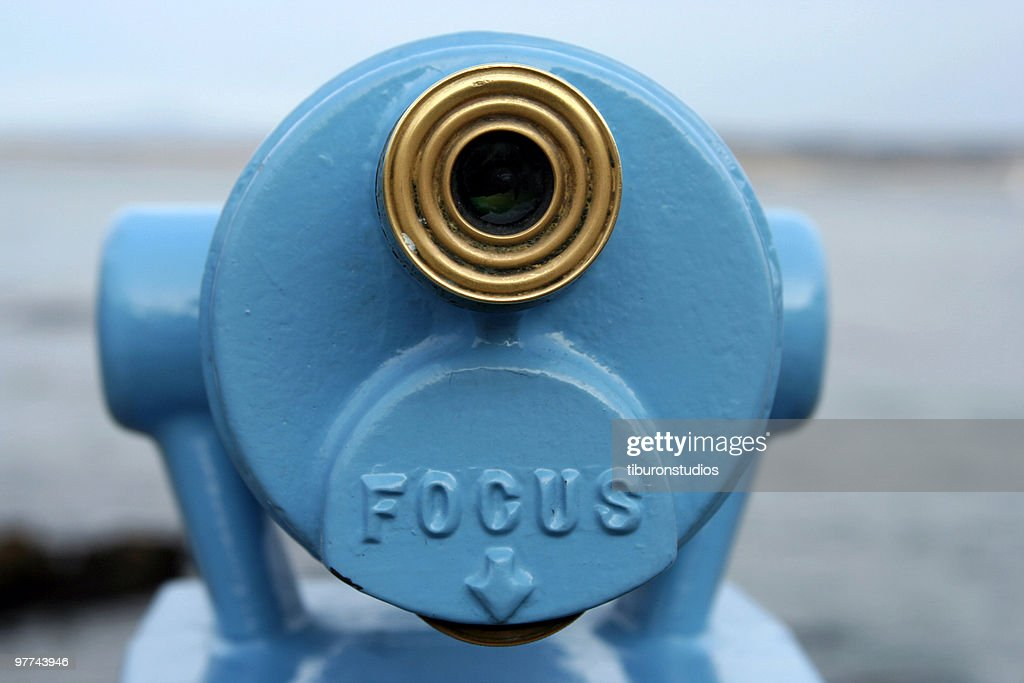 Blue Telescope Viewer with Word 'FOCUS' : Stock Photo
