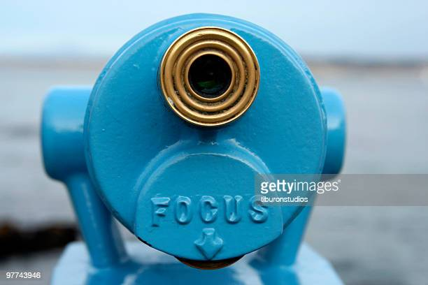 Blue Telescope Viewer with Word 'FOCUS'