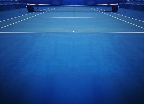 Blue Tennis Court Sport Background 895972476